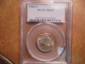 1945-s 35% Silver Jefferson War Nickel Pcgs Ms65