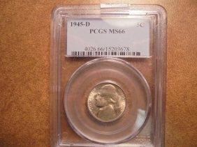 1945-d 35% Silver Jefferson War Nickel Pcgs Ms66
