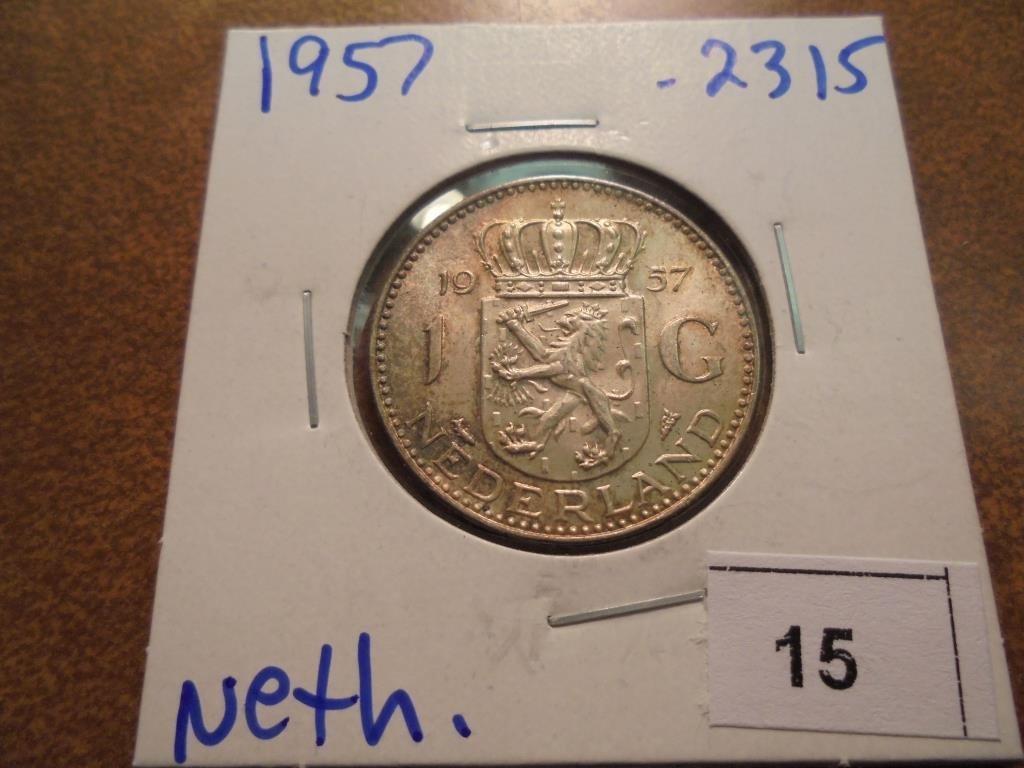 1957 NETHERLANDS SILVER GULDEN .2315 OZ. ASW