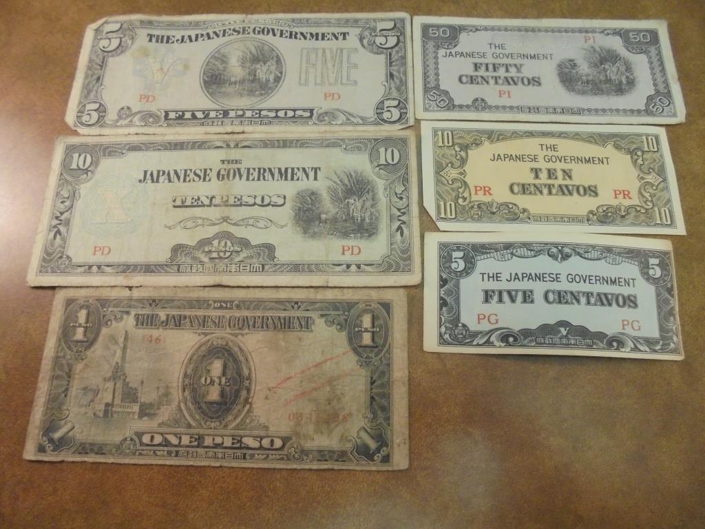 5,10 & 50 CENTAVOS, 1,5 & 10 PESOS WWII JAPANESE