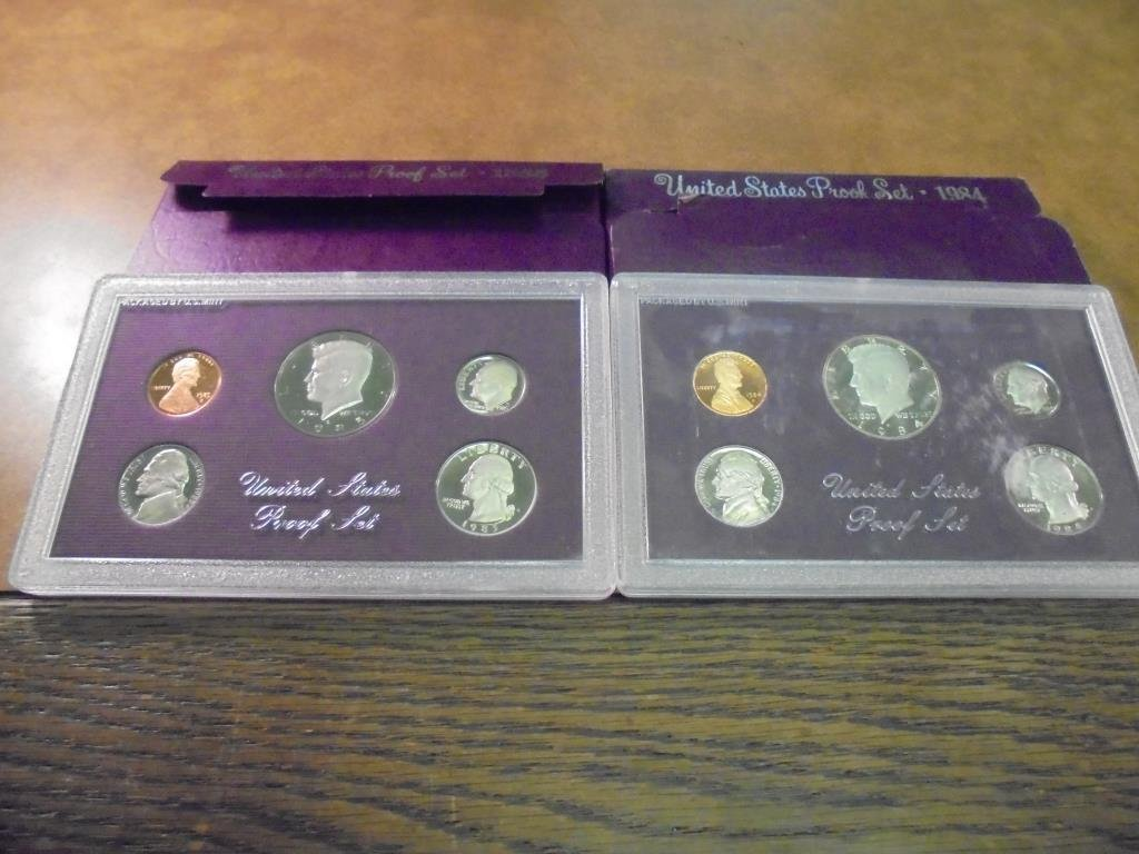 1984 & 1985 US PROOF SETS (WITH BOXES)