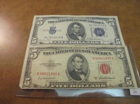 1934-d $5 Silver Certificate $ 1953-a $5 Us Note