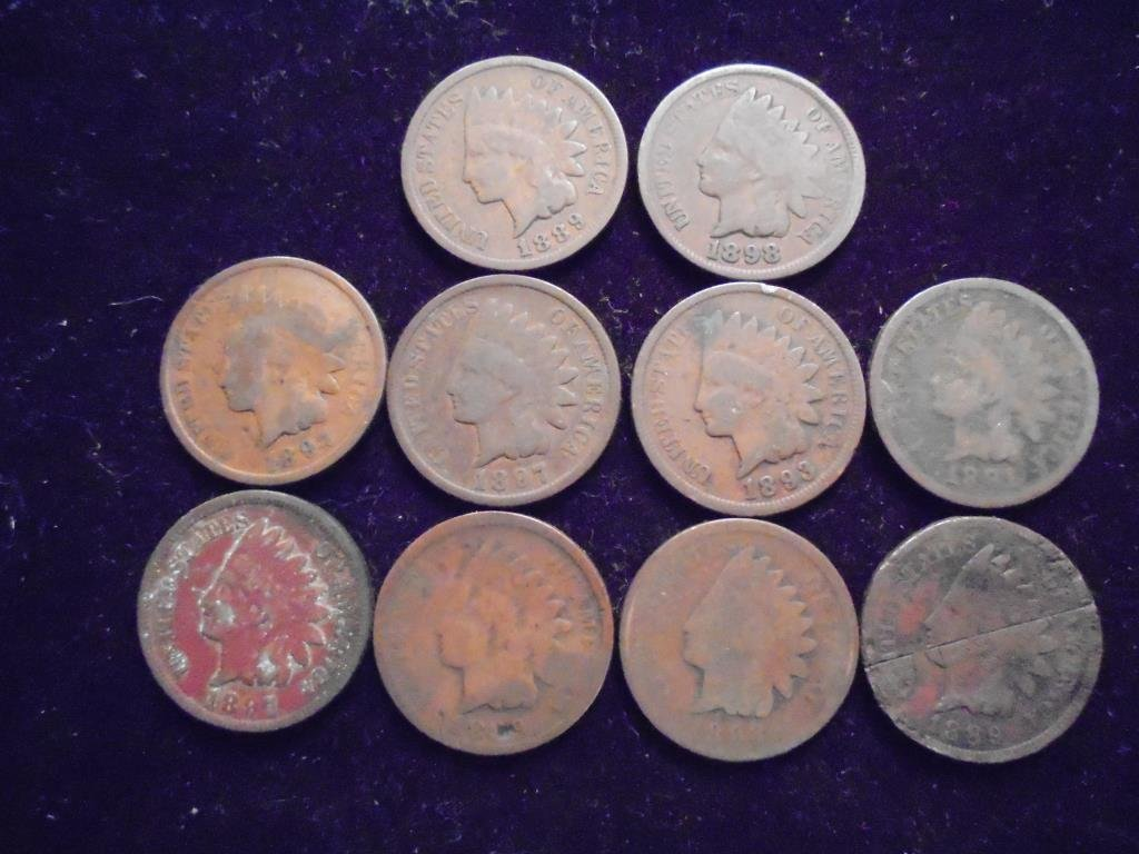 10 ASSORTED 1880'S & 90'S INDIAN HEAD CENTS