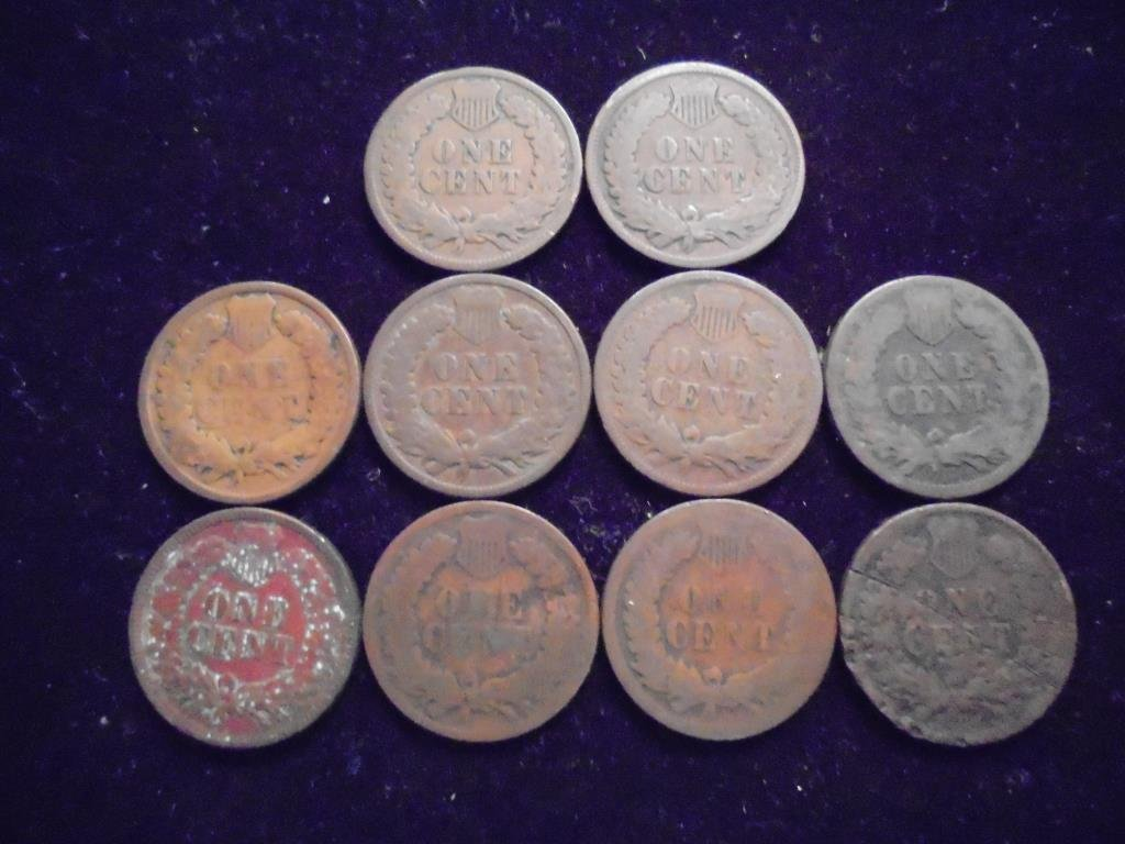 10 ASSORTED 1880'S & 90'S INDIAN HEAD CENTS - 2