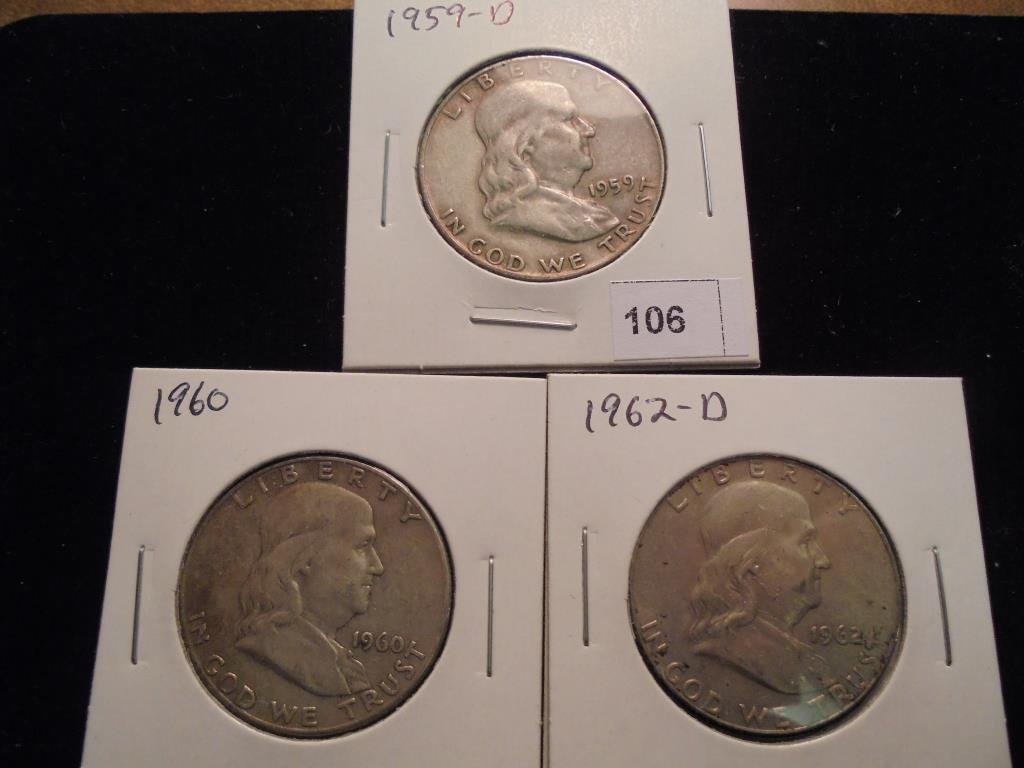 1959-D,60 & 62-D FRANKLIN HALF DOLLARS