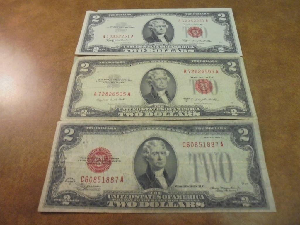1928-D,53-B & 63 $2 US NOTES RED SEALS