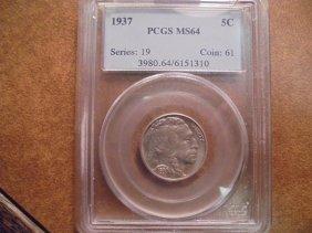 1937 Buffalo Nickel Pcgs Ms64