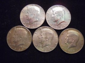 5 Assorted 40% Silver John F. Kennedy Halves