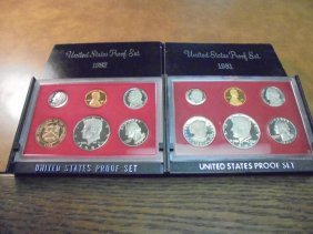 1981 & 1982 Us Proof Sets (with Boxes)