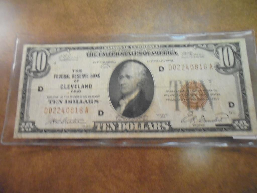 1929 $10 NATIONAL CURRENCY CLEVELAND BROWN SEAL