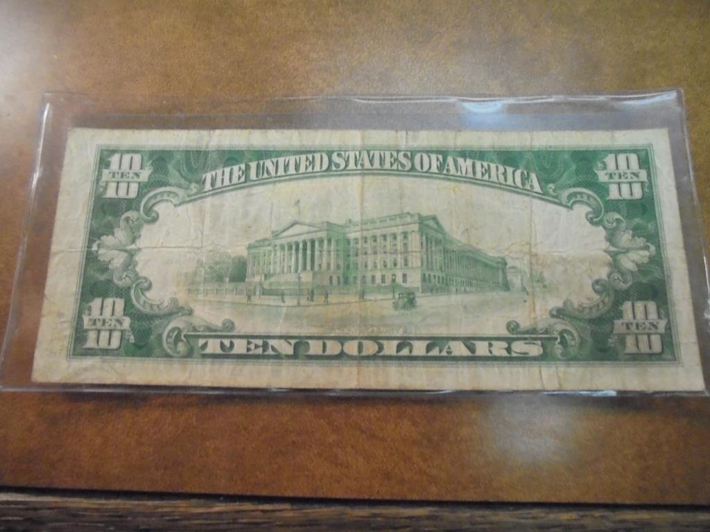 1929 $10 NATIONAL CURRENCY CLEVELAND BROWN SEAL - 2