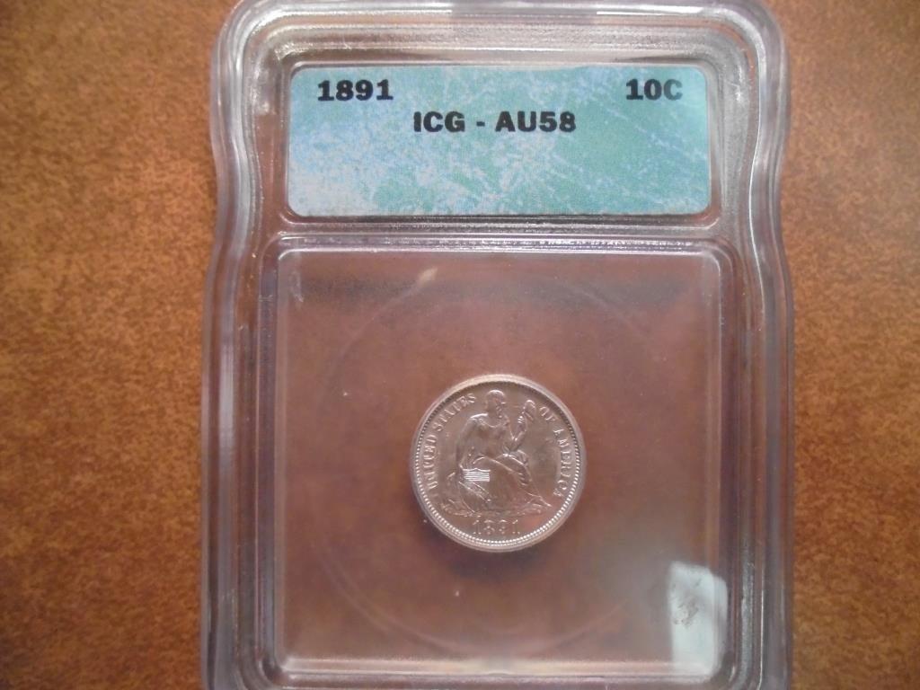 1891 SEATED LIBERTY DIME ICG AU58