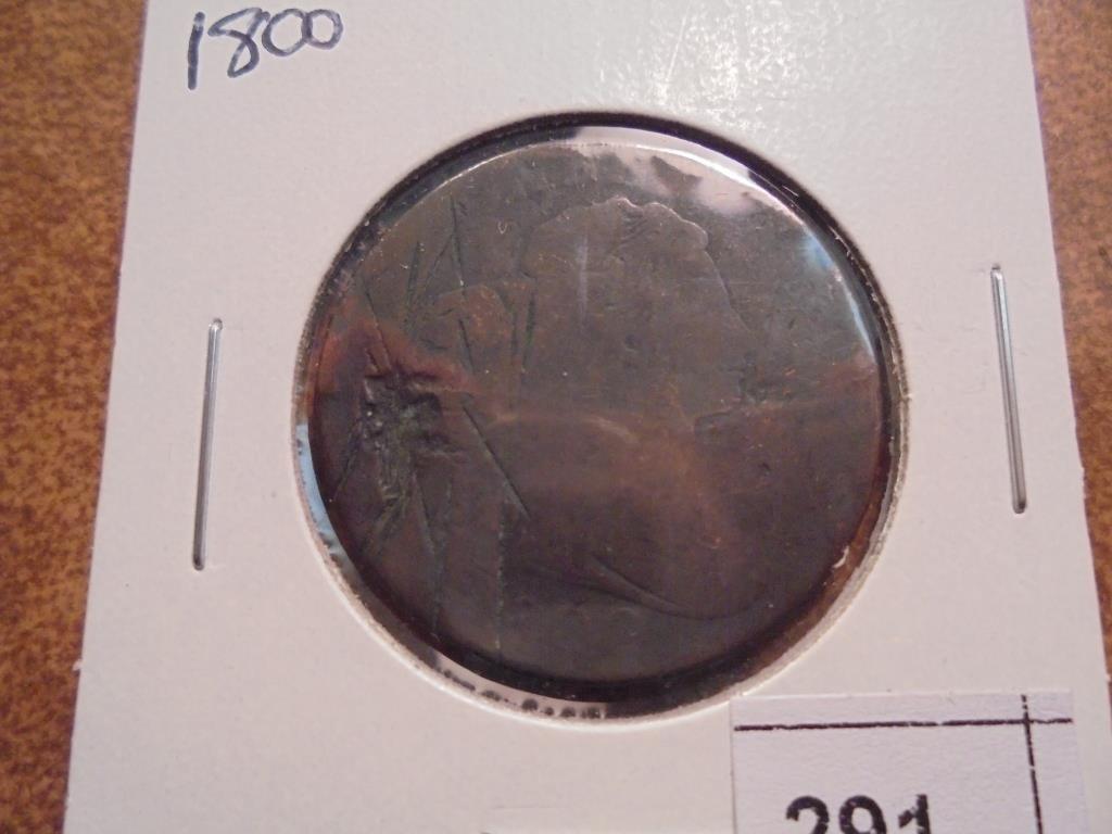 1800 US LARGE CENT, MANY MARKS
