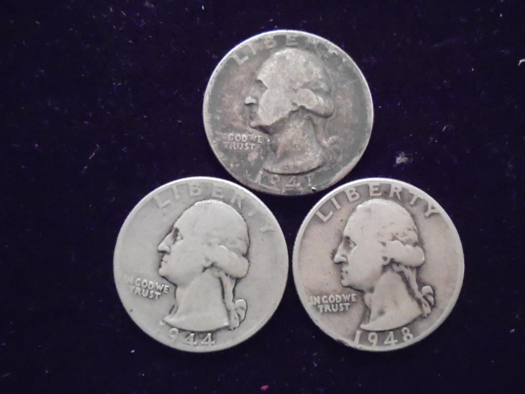 1941,44 & 48 WASHINGTON SILVER QUARTERS