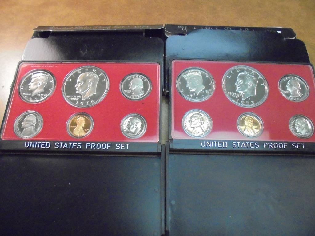 1973 & 1974 US PROOF SETS (WITH BOXES)