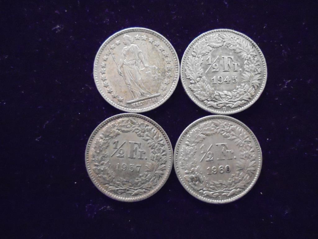 1943,45,57 & 60 SWITZERLAND SILVER 1/2 FRANCS