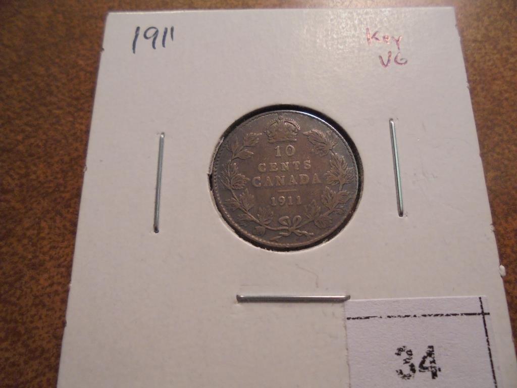 1911 CANADA SILVER 10 CENT (SEMI-KEY)