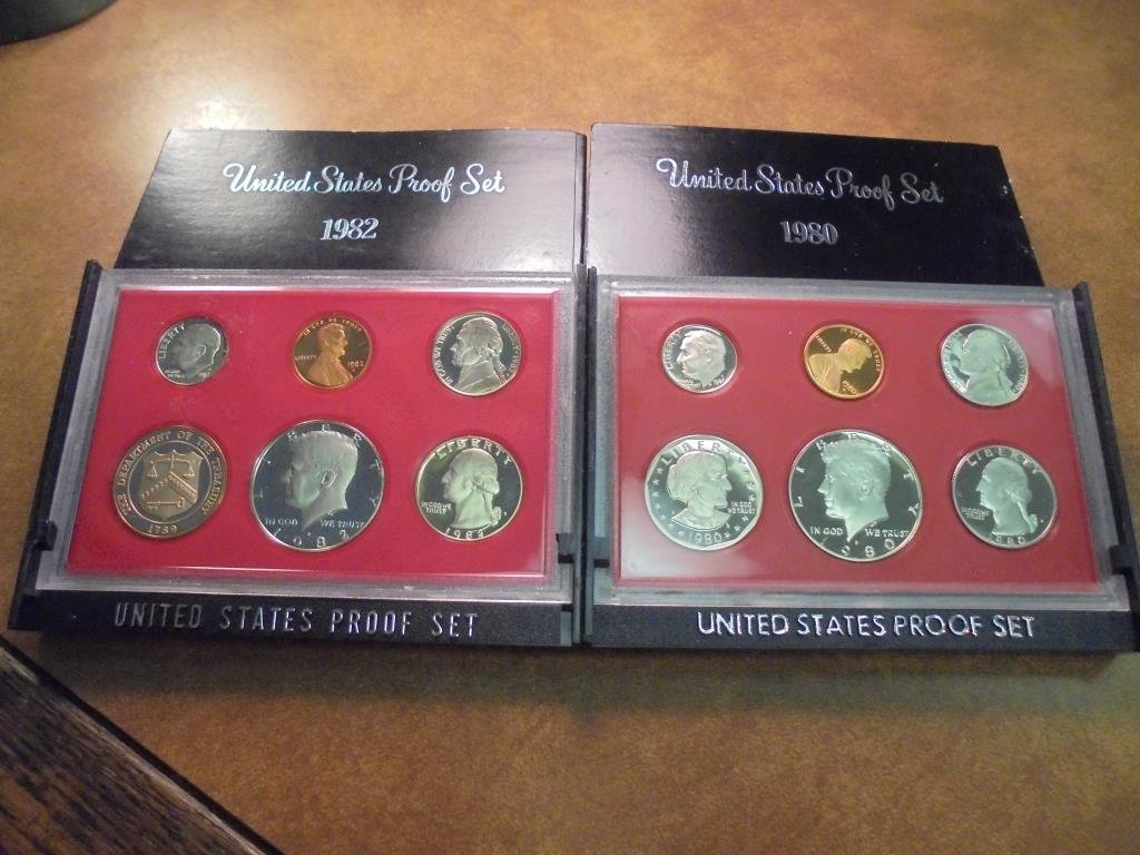 1980 & 1982 US PROOF SETS (WITH BOXES)