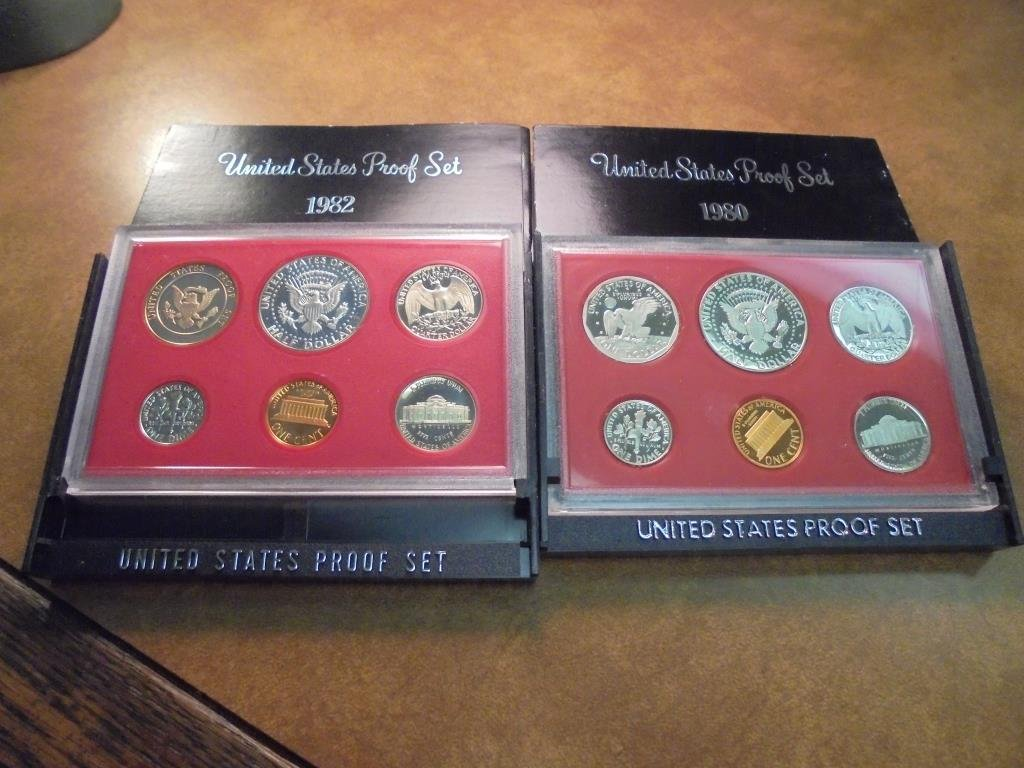 1980 & 1982 US PROOF SETS (WITH BOXES) - 2