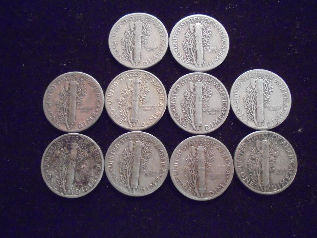 10 ASSORTED 1940'S MERCURY DIMES - 2