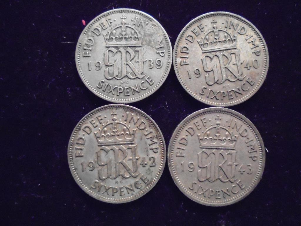 1939,40,42 & 43 GREAT BRITAIN SILVER 6 PENCE
