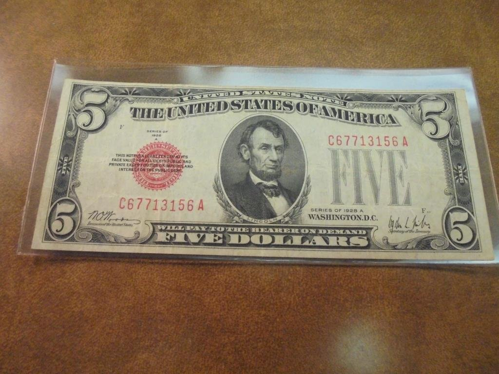 1928-A $5 US NOTE RED SEAL