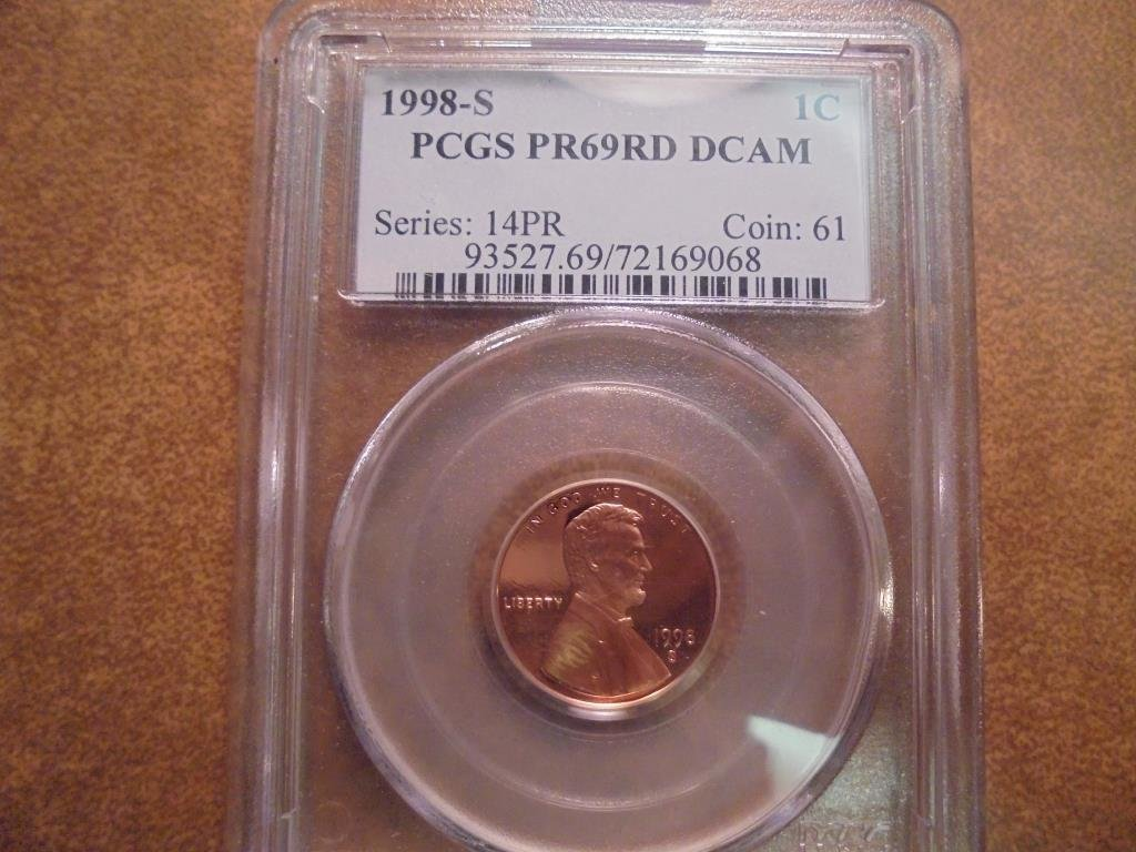 1998-S LINCOLN CENT PCGS PR69RD DCAM