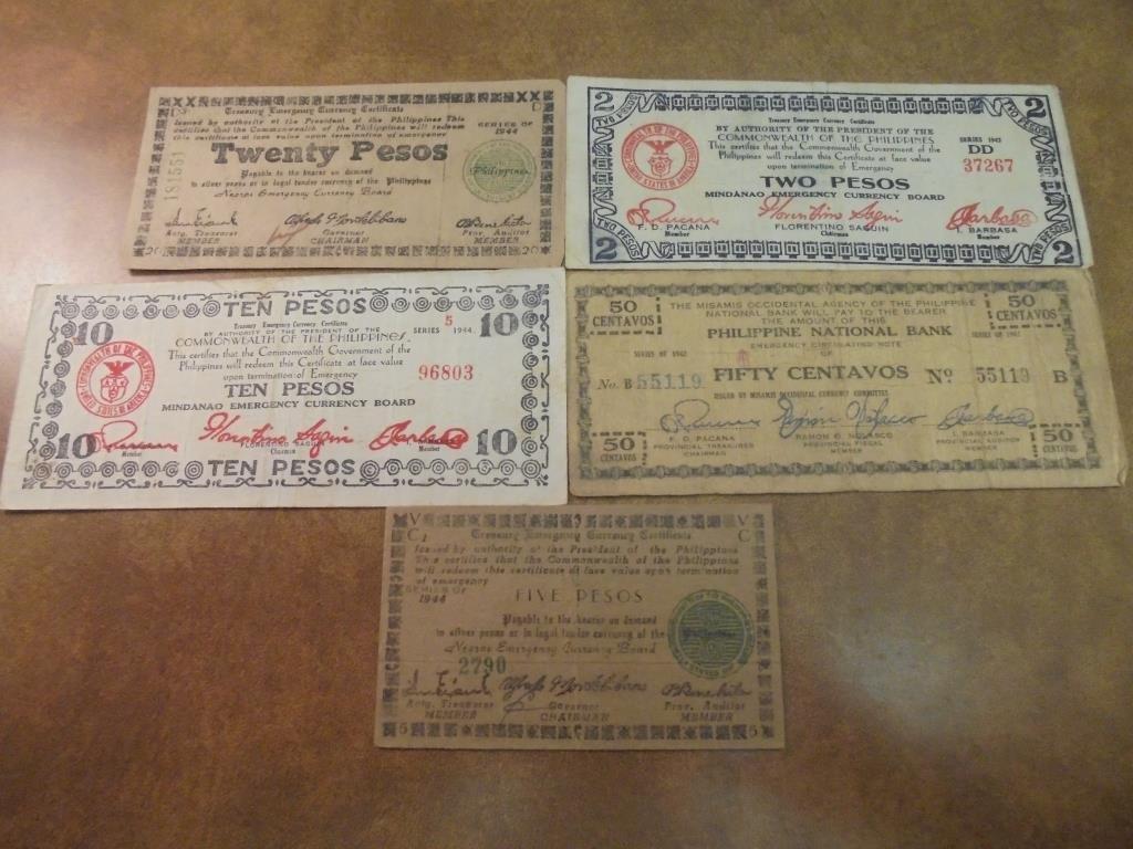 50 CENTAVOS, 2,510 & 20 PESOS WWII PHILIPPINES