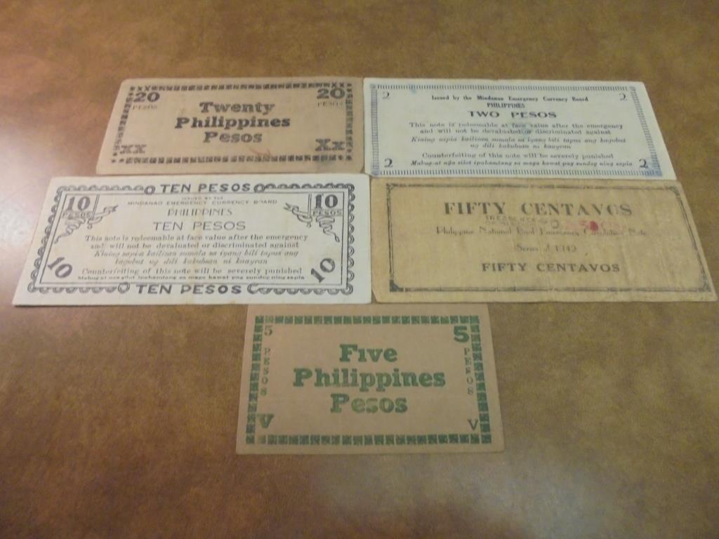 50 CENTAVOS, 2,510 & 20 PESOS WWII PHILIPPINES - 2