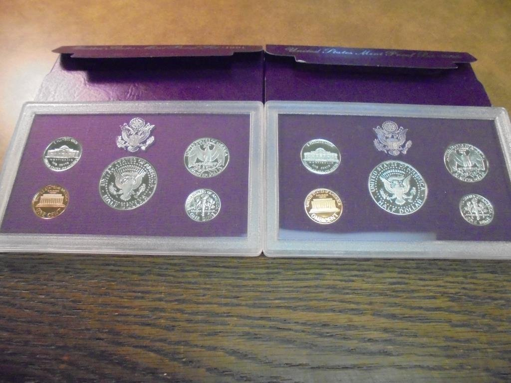 1990 & 1991 US PROOF SETS (WITH BOXES) - 2