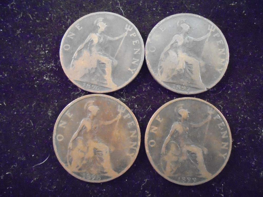 1896,97, 98 & 99 GREAT BRITAIN LARGE PENNIES