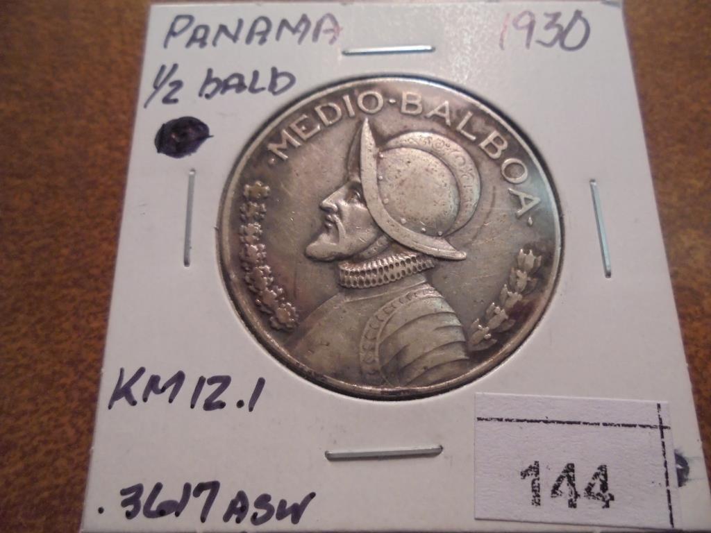 1930 PANAMA SILVER HALF BALBOA .3617 OZ. ASW