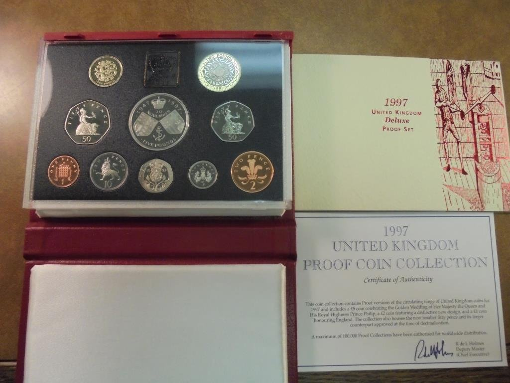 1997 UNITED KINGDOM DELUXE PF SET 10 COINS