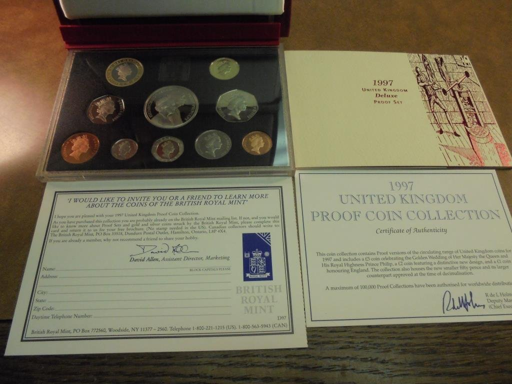 1997 UNITED KINGDOM DELUXE PF SET 10 COINS - 2