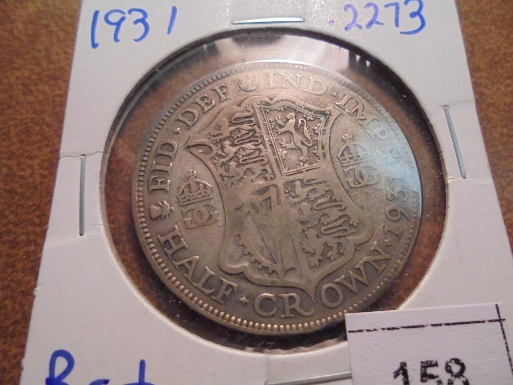 1931 GREAT BRITAIN SILVER HALF CROWN .2273 OZ. ASW