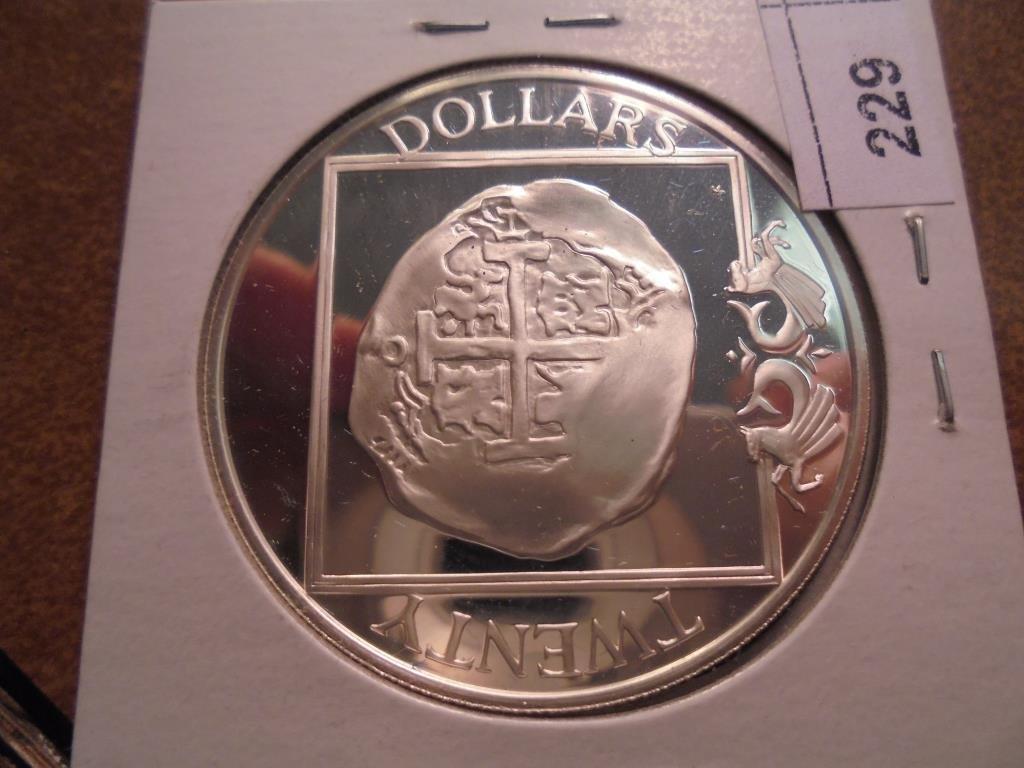 1985 BRITISH VIRGIN ISLANDS SILVER PROOF $20