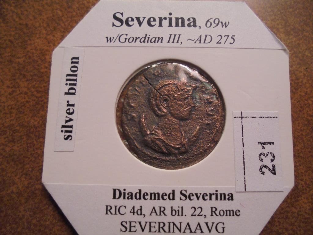 SILVER BILLON 275 A.D. SEVERINA ANCIENT COIN