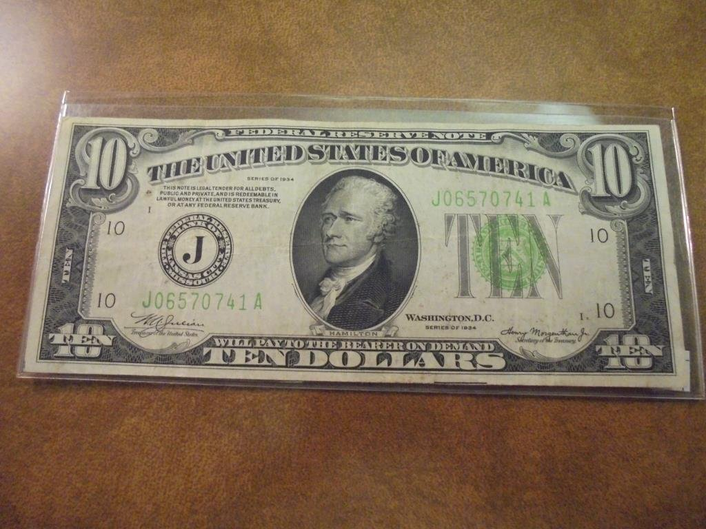 1934 $10 FRN GREEN SEAL