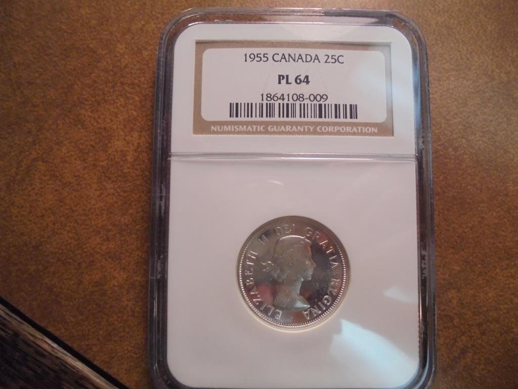 1955 CANADA SILVER 25 CENTS NGC PL64