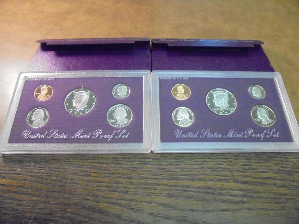 1991 & 1993 US PROOF SETS (WITH BOXES)