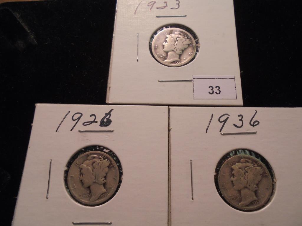 1923,26 & 36 MERCURY DIMES