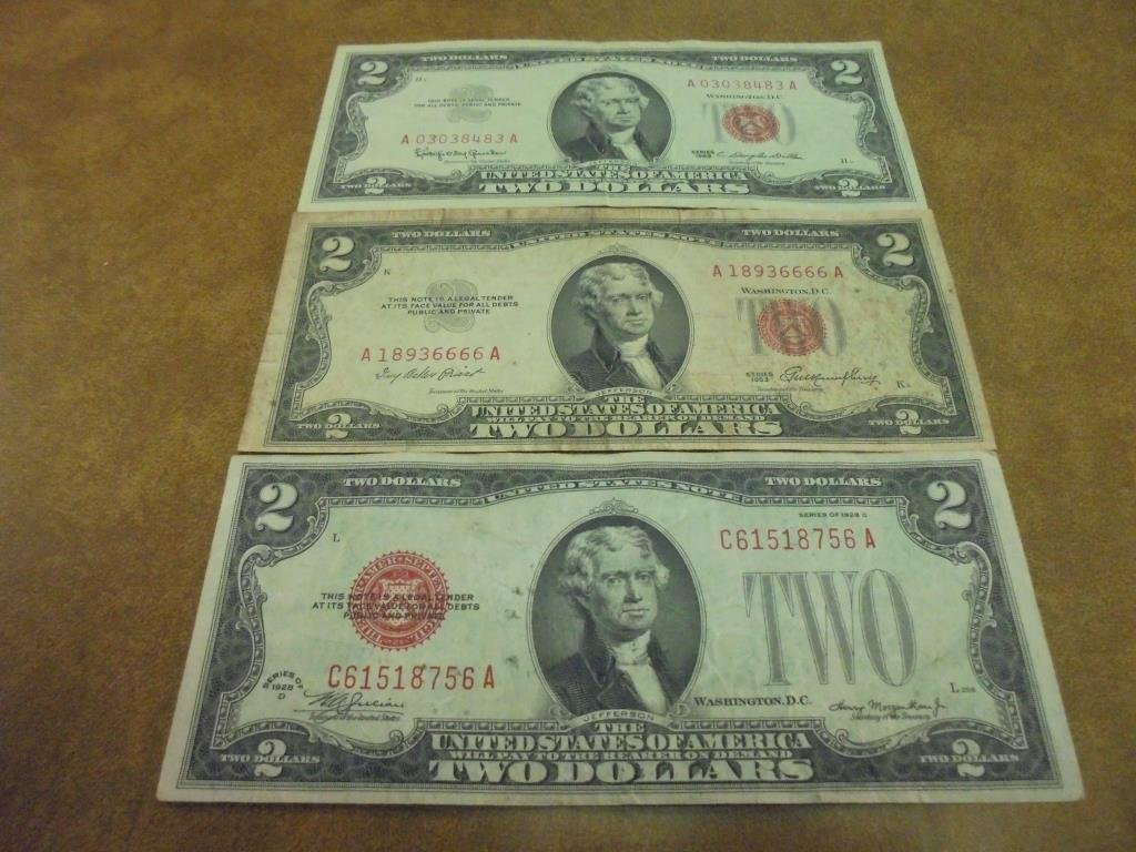 1928-D,53 & 63 $2 US NOTES RED SEALS