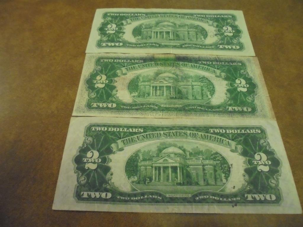1928-D,53 & 63 $2 US NOTES RED SEALS - 2