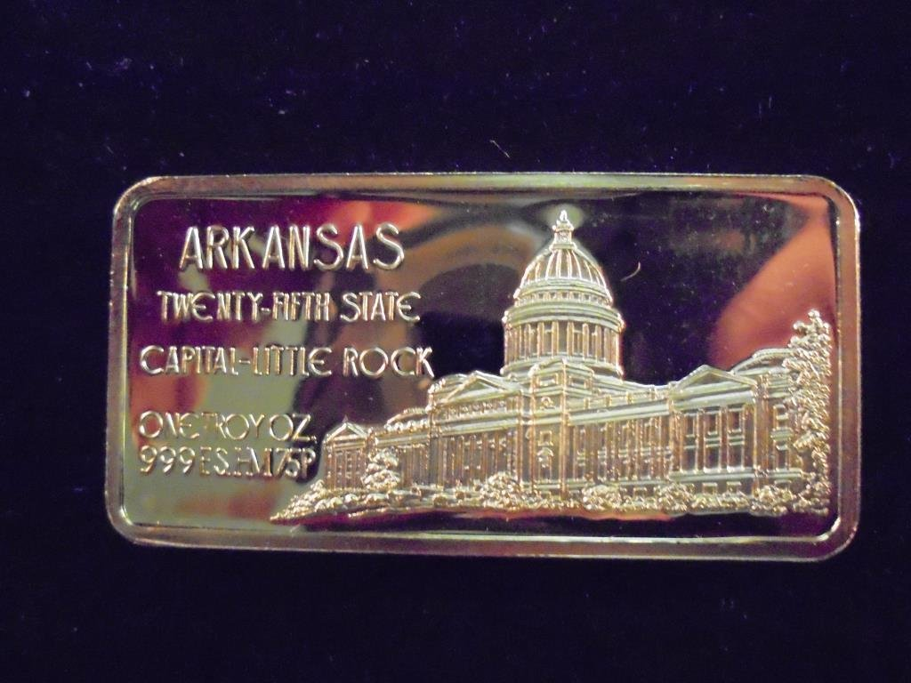 1 OZ. 24KT GOLD PLATED SILVER INGOT ARKANSAS