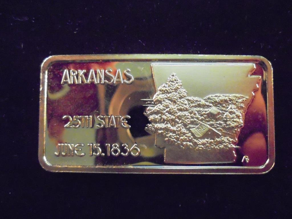 1 OZ. 24KT GOLD PLATED SILVER INGOT ARKANSAS - 2
