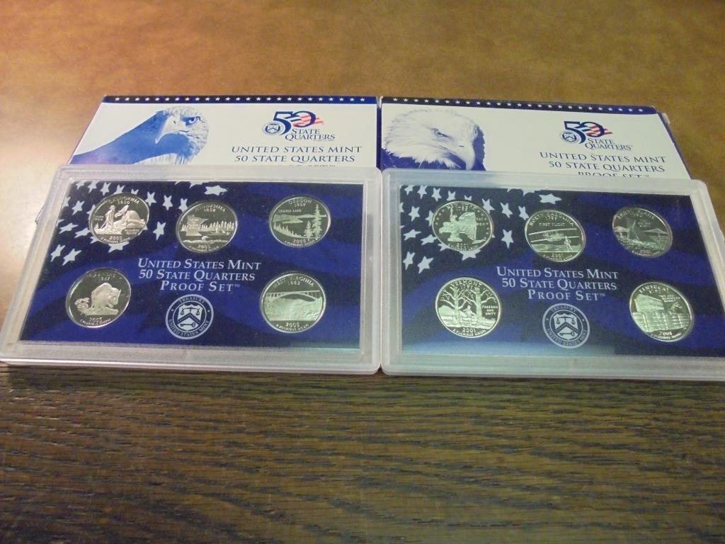 2001 & 2005 US 50 STATE QUARTERS PROOF SETS