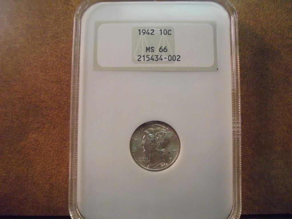 1942 MERCURY DIME NGC MS66
