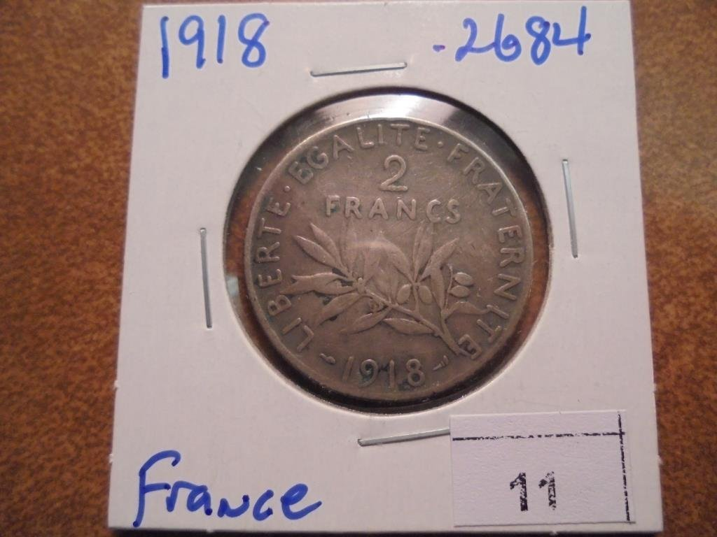 1918 FRANCE SILVER 2 FRANCS .2684 OZ. ASW