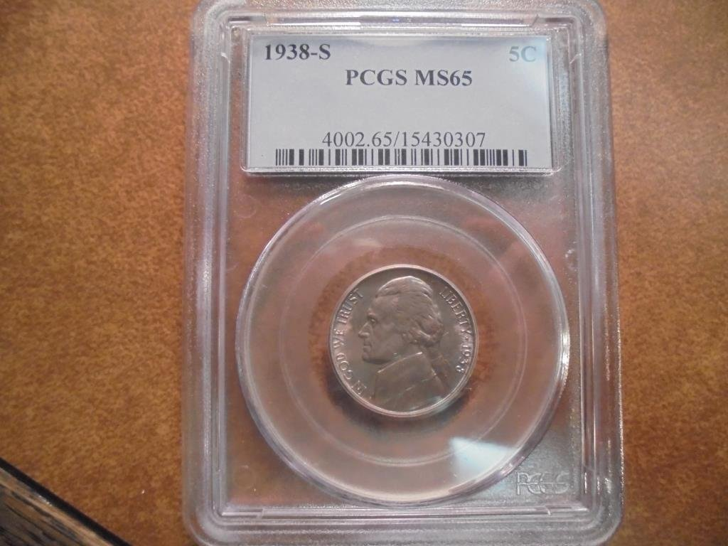 1938-S JEFFERSON NICKEL PCGS MS65