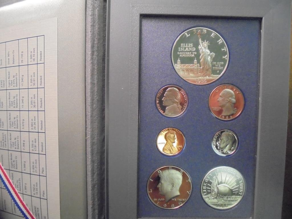 1986 US PRESTIGE PROOF SET STATUE OF LIBERTY